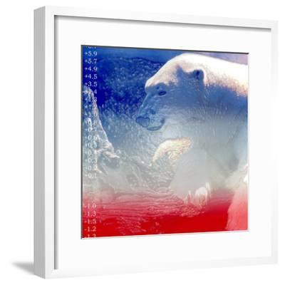 Digital Montage of a Polar Bear with Temperature Readings--Framed Photographic Print