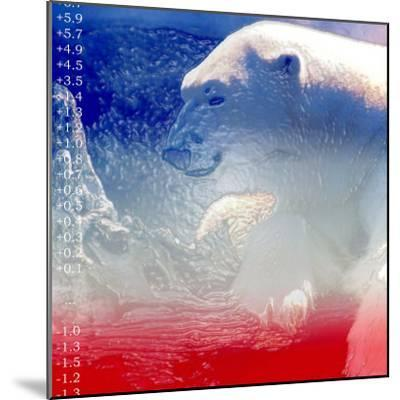 Digital Montage of a Polar Bear with Temperature Readings--Mounted Photographic Print