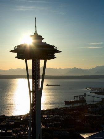 Silhouette of Space Needle Building in Seattle, Washington at Sunset--Photographic Print