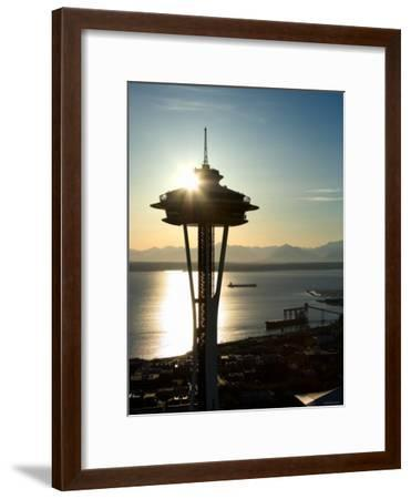 Silhouette of Space Needle Building in Seattle, Washington at Sunset--Framed Photographic Print