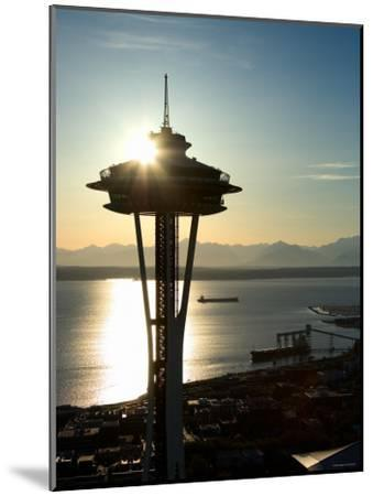 Silhouette of Space Needle Building in Seattle, Washington at Sunset--Mounted Photographic Print