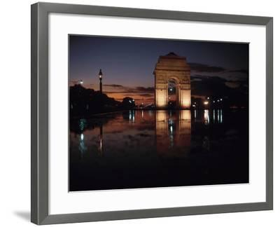 Historical Gate of India at Sunset in Bombay, India--Framed Photographic Print