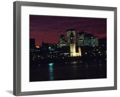 Cityscape of Montreal at Sunset with Illuminating Lights from Buildings in Quebec, Canada--Framed Photographic Print