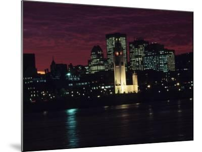 Cityscape of Montreal at Sunset with Illuminating Lights from Buildings in Quebec, Canada--Mounted Photographic Print