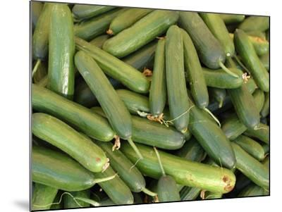 A Large Pile of Freshly Harvested Green Cucumbers--Mounted Photographic Print