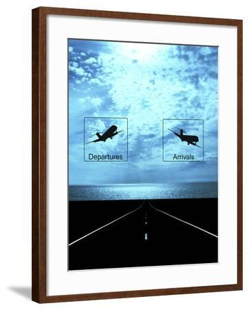 Arrival, Departure Signs and Runway--Framed Photographic Print