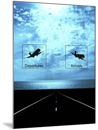 Arrival, Departure Signs and Runway--Mounted Photographic Print