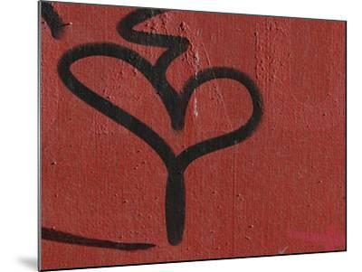 Close-up of a Red Wall and a Black Grafiti Heart Shape--Mounted Photographic Print