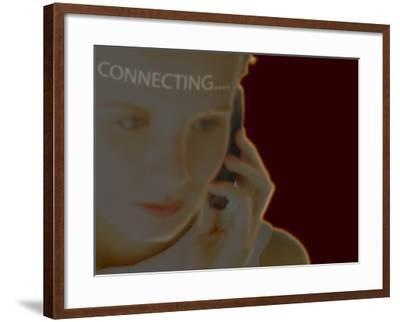 Woman Using Cell Phone with Superimposed Word Connecting--Framed Photographic Print