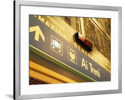 Italian Sign in Train Station Pointing to Luggage Area--Framed Photographic Print