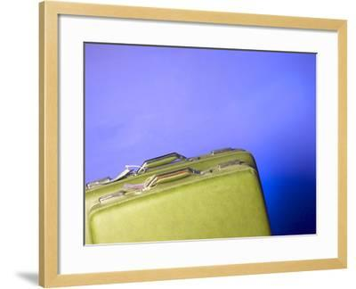 Two Green Vintage Suitcases with Travel Tags--Framed Photographic Print