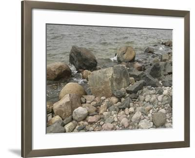 Large and Small Rocks on the Shore with Water Splashing--Framed Photographic Print