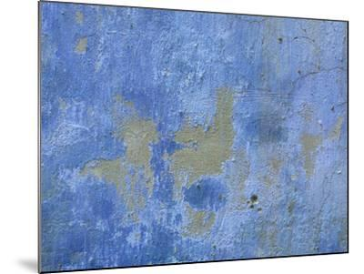 Close-up of Blue Paint Chipping from Stone Wall--Mounted Photographic Print
