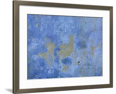Close-up of Blue Paint Chipping from Stone Wall--Framed Photographic Print