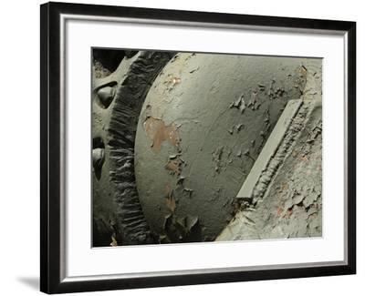 Close-up of Old Rusty Metal Machinery with Peeling Green Paint--Framed Photographic Print
