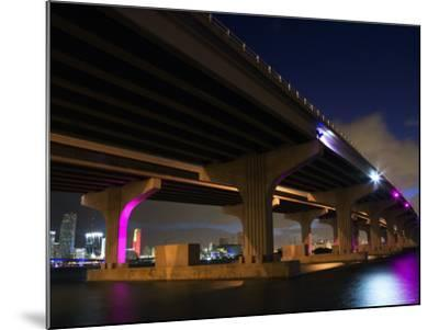 Industrial Bridge at Night in Miami, Florida--Mounted Photographic Print