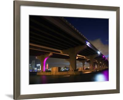 Industrial Bridge at Night in Miami, Florida--Framed Photographic Print