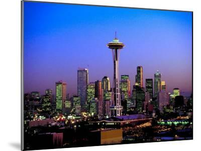 Skyline of Seattle at Dusk--Mounted Photographic Print