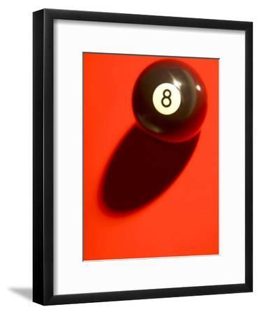 Eight Ball on with Shadow on Red Billard Table--Framed Photographic Print