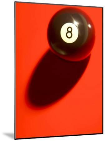 Eight Ball on with Shadow on Red Billard Table--Mounted Photographic Print