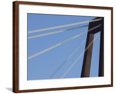 A Tall Suspension Bridge Support with Cables--Framed Photographic Print