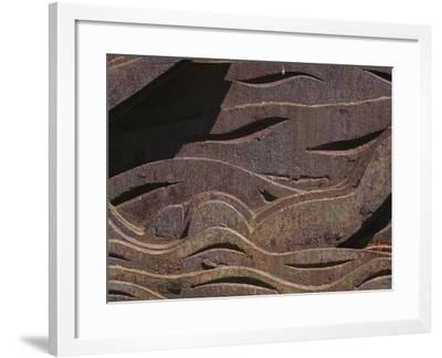 Close-up of the Carved Detail in Rusty Metal--Framed Photographic Print