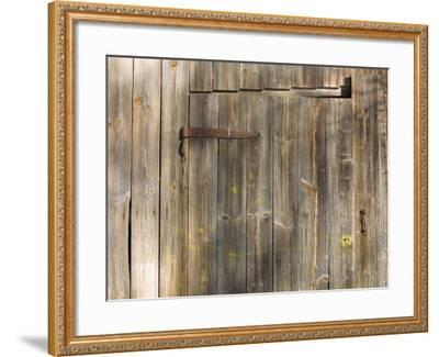 Weathered Wooden Door and Wall with Rusted Brass Hinge--Framed Photographic Print