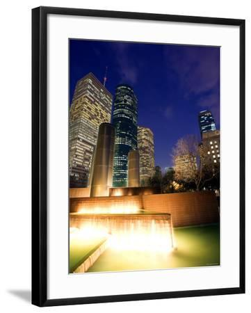 Splashing Fountain with Skyscrapers and High-Rise Buildings in Houston, Texas--Framed Photographic Print
