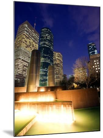 Splashing Fountain with Skyscrapers and High-Rise Buildings in Houston, Texas--Mounted Photographic Print