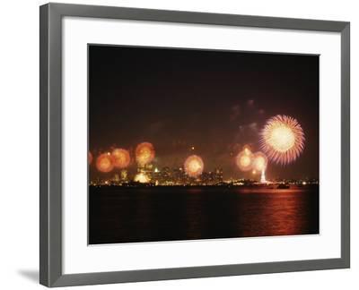 Fireworks Celebration with Manhattan Skyline and Statue of Liberty, Manhattan, New York--Framed Photographic Print