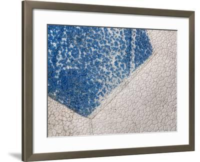 Close-Up of Cracked Blue and White Paint of Soccer Ball--Framed Photographic Print