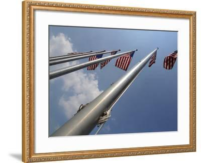 American Flags Flying on a Flag Pole in the Usa--Framed Photographic Print