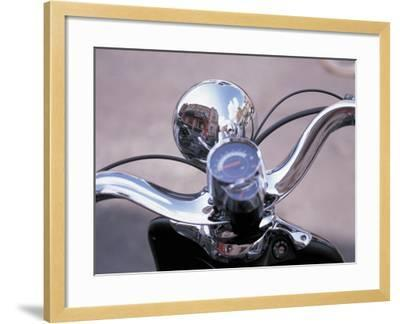 Reflective Chrome Handlebars on a Motorcycle--Framed Photographic Print