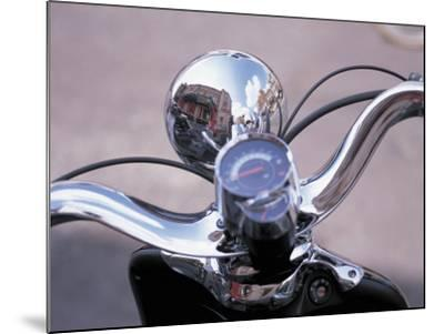 Reflective Chrome Handlebars on a Motorcycle--Mounted Photographic Print