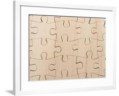 Completed Puzzle Pieces Textured Background--Framed Photographic Print