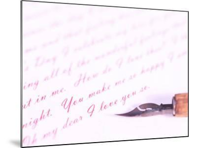 Old-Fashioned Fountain Pen Lying on Love Letter--Mounted Photographic Print