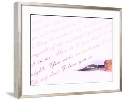 Old-Fashioned Fountain Pen Lying on Love Letter--Framed Photographic Print