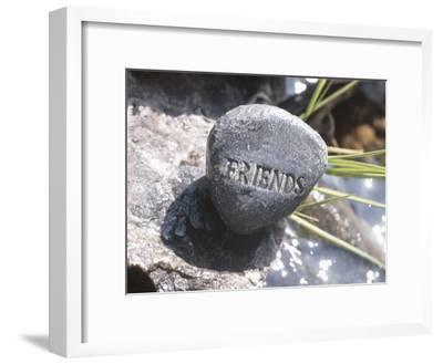 Stone with Word Friends in Tranquil Nature--Framed Photographic Print