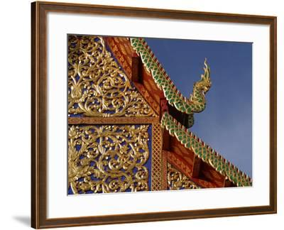 Ornamental Architectural Details on the Exterior of a Pagoda, Thailand--Framed Photographic Print