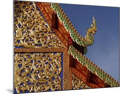 Ornamental Architectural Details on the Exterior of a Pagoda, Thailand--Mounted Photographic Print