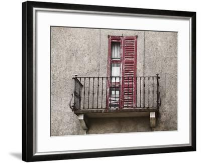 Weathered Shutters to Rusted Balcony of Old Building--Framed Photographic Print