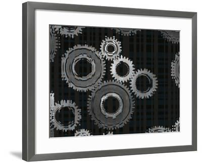 Striped Silver Metal Assembly Gears of Various Sizes--Framed Photographic Print