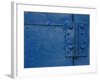 Vibrant Blue Painted Door and Hinge--Framed Photographic Print