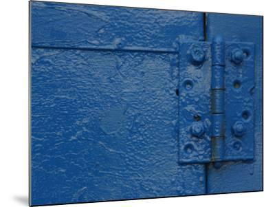 Vibrant Blue Painted Door and Hinge--Mounted Photographic Print