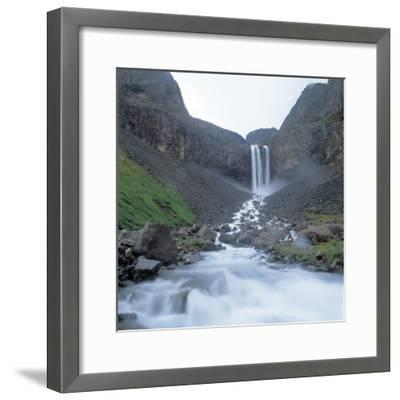 Rushing and Cascading Waterfall Between Mountains--Framed Photographic Print
