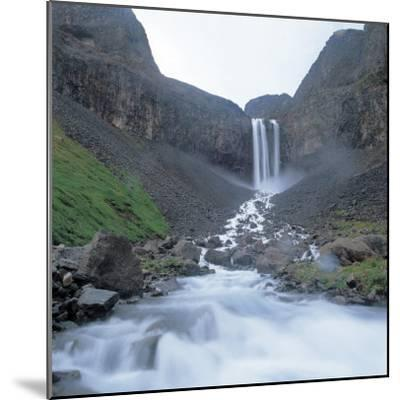 Rushing and Cascading Waterfall Between Mountains--Mounted Photographic Print