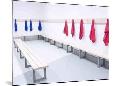 Blue and Red Shirts Hanging from Hooks in School Gym Change Room--Mounted Photographic Print