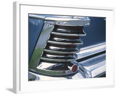 Chrome Fin on Antique Blue Car--Framed Photographic Print