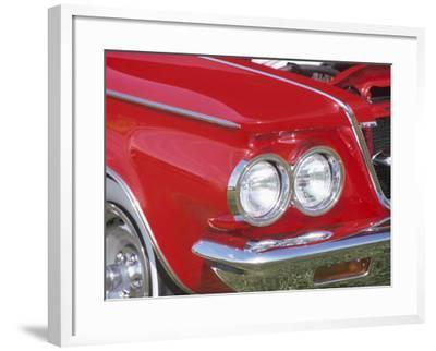 Chrome Headlight in Red Antique Car--Framed Photographic Print