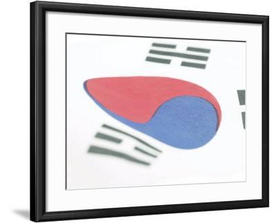 Close-Up of Blue and Red Yin-Yang Symbol on South Korean Flag--Framed Photographic Print